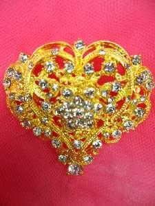 """GB259 Crystal Rhinestone Brooch Pin Gold 2.25"""""""
