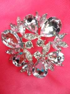 """GB260 Silver Crystal Glass Rhinestone Brooch Pin 2"""""""