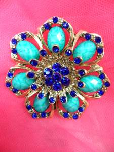 GB262 Blue Turquoise Glass Rhinestone Brooch Pin Gold 2.5""