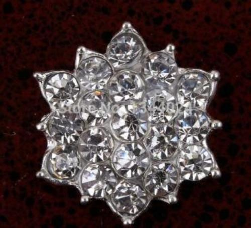 GB264 Floral Crystal Clear Glass Rhinestone Embellishment Metal Back