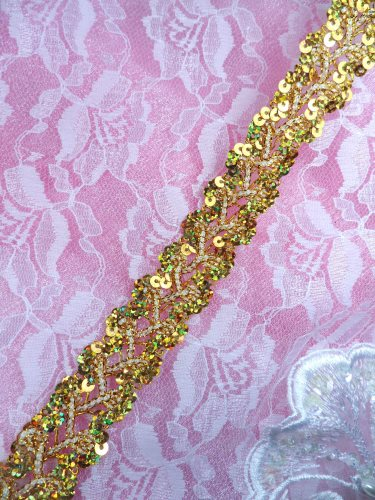 GB267 Gold Holographic Sequin Sewing CraftsTrim 1""