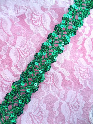 GB267 Green Holographic Sequin Sewing CraftsTrim 1""
