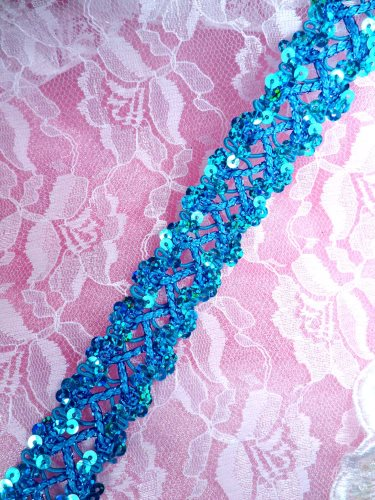 """GB267 Turquoise Holographic Sequin Sewing CraftsTrim 1"""""""