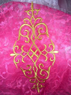 """GB274 Embroidered Applique Gold Metallic Iron On Patch 10.75"""""""