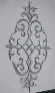 GB274 Embroidered Applique Silver Metallic Iron On Patch 10.75""
