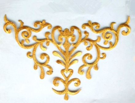 RMGB275 (REDUCED) Embroidered Applique Gold Metallic Iron On Patch 10.25""