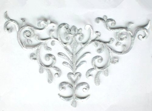 GB275 Embroidered Applique Silver Metallic Iron On Patch 10.25""