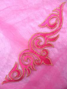 GB276 Pink Gold Embroidered Applique Iron On Patch 9.5""