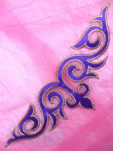 """GB276 Purple Gold Embroidered Applique Iron On Patch 9.5"""""""