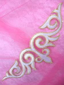 """RMGB276 REDUCED White Gold Embroidered Applique Iron On Patch 9.5"""""""