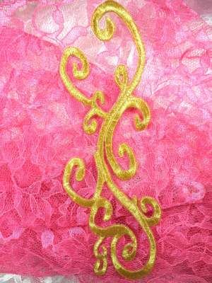 GB277 Embroidered Applique Gold Metallic Iron On Patch 8""