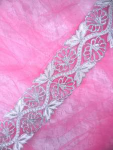 """GB278 Embroidered Trim Silver Floral Metallic Iron On 2"""""""
