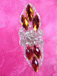 "GB282 Orange Marquise Crystal Rhinestone Applique Embellishment 3.25"""