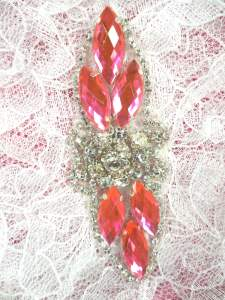 GB282 Hot Pink Marquise Crystal Rhinestone Applique Embellishment 3.25""