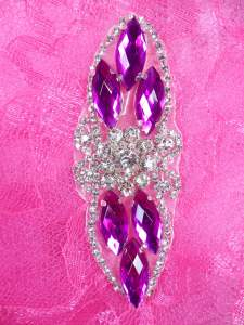 "GB282 Magenta Marquise Crystal Rhinestone Applique Embellishment 3.25"""