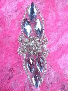 """GB282 Silver Marquise Crystal Rhinestone Applique Embellishment 3.25"""""""
