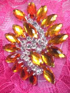 "GB283 Gold Marquise Swirl Crystal Rhinestone Applique Embellishment 2.5"""