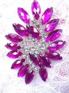 "GB283 Magenta Marquise Swirl Crystal Rhinestone Applique Embellishment 2.5"""