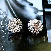Bridal Rhinestone Crystal Earrings Silver Settings (GB284)