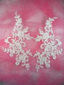 """BL77 White Floral Venise Lace Mirror Pair Appliques 9.5"""""""