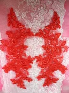 """BL78 Red Floral Venise Lace Mirror Pair Appliques 10.5"""""""