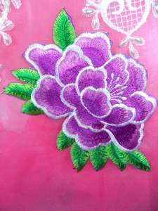 GB290 Floral Purple Embroidered Flower Applique Iron On Patch 5.5""