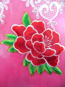 GB290 Floral Red Embroidered Flower Applique Iron On Patch 5.5""