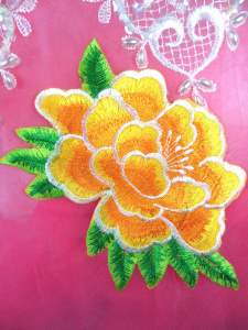 GB290 Floral Yellow Embroidered Flower Applique Iron On Patch 5.5""