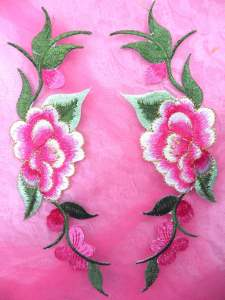 """GB295 Pink Embroidered Floral Mirror Pair Appliques 8"""""""