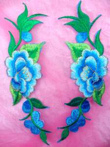 """GB295 Turquoise Embroidered Floral Mirror Pair Appliques 8"""""""
