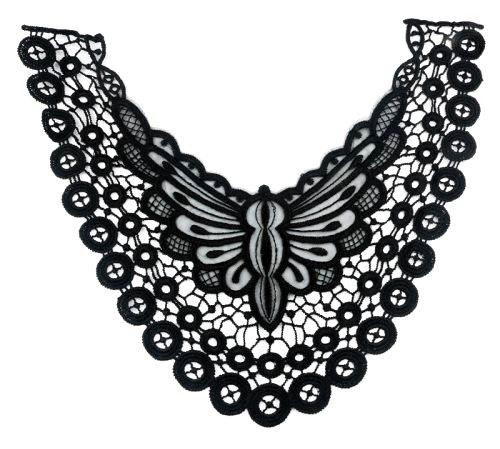 "GB299 Black Venise Lace Victorian Yoke Collar Applique 13"""