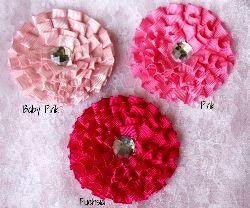 "GB3 Pleated Ruffle Rhinestone Floral Bow Applique 3""  15 Colors Available"