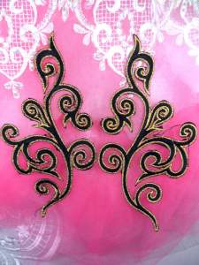 """GB304 Embroidered Appliques Mirror Pair Black Metallic Gold Iron On Patch 6.5"""""""