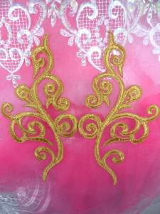 "GB304 Embroidered Appliques Mirror Pair Metallic Gold Metallic Iron On Patch 7"""