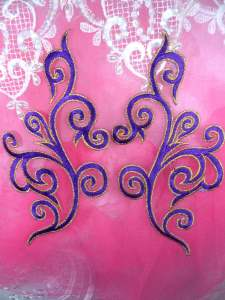 """GB304 Embroidered Appliques Mirror Pair Purple Metallic Gold Iron On Patch 7"""""""