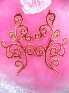 """GB304 Embroidered Appliques Mirror Pair Brick Red Metallic Gold Iron On Patch 7"""""""