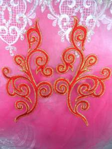 GB304 Embroidered Appliqu�s Mirror Pair Red Metallic Gold Iron On Patch 7""
