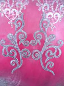 """GB304 Embroidered Appliques Mirror Pair Metallic Silver Iron On Patch 7"""""""