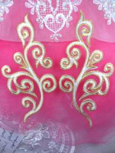 """GB304 Embroidered Appliques Mirror Pair White Metallic Gold Iron On Patch 7"""""""