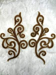 GB304 Embroidered Appliques Mirror Pair Brown Gold Metallic Iron On Patch 7""