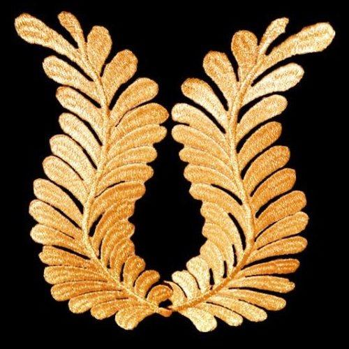 "GB306 Embroidered Appliques Gold Metallic Mirror Pair Iron On 7.5"""