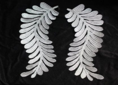 GB306 Embroidered Appliques Silver Metallic Mirror Pair Iron On 7.5""