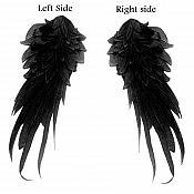 """OSGB311 (RIGHT SIDE ONLY) 3D Six Layer Applique Black Venise Lace Leaf Epaulet Motif 11"""""""