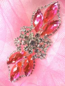 GB318 Hot Pink Marquise Crystal Rhinestone Applique Embellishment 3.25""