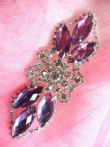 "GB318 Lavender Marquise Crystal Rhinestone Applique Embellishment 3.25"""