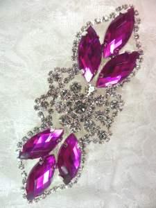 "GB318 Magenta Marquise Crystal Rhinestone Applique Embellishment 3.25"""
