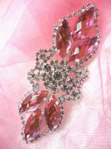 "GB318 Pink Marquise Crystal Rhinestone Applique Embellishment 3.25"""