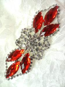"GB318 Applique Red Marquise Crystal Rhinestone Embellishment 3.25"""