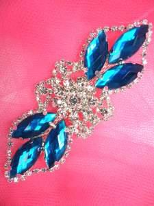 "GB318 Dark Turquoise Marquise Crystal Rhinestone Applique Embellishment 3.25"""