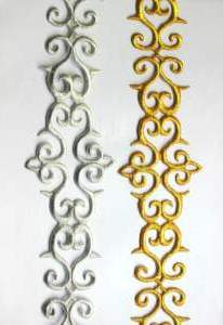 GB322 Embroidered Trim Gold Scroll Metallic Iron On 2.75""